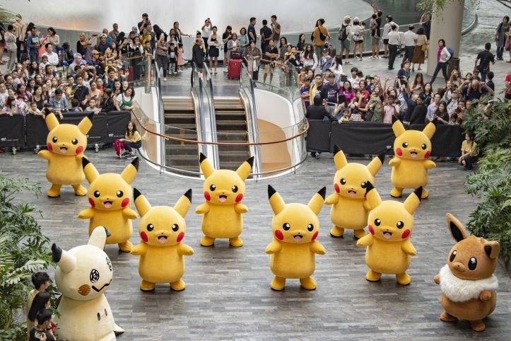 Jewel Changi Airport_Pokemon Parade_Dancing at the North Canyon_Top down