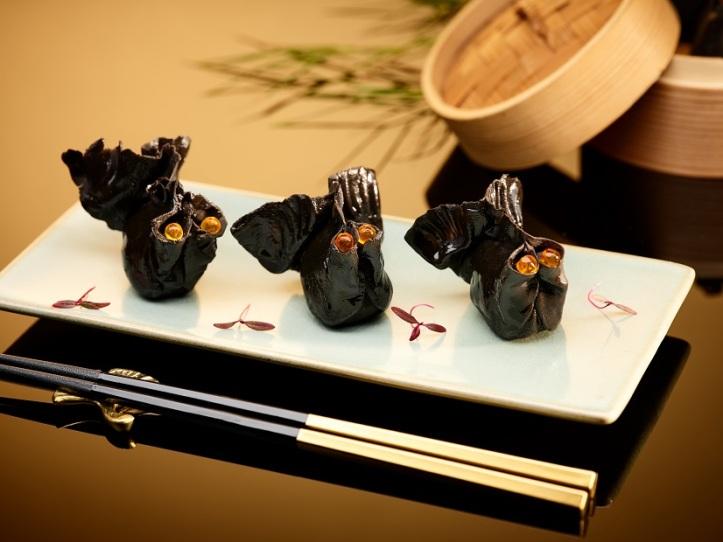 Steamed Prawn and Black Truffle Dumpling in Squid Ink Skin